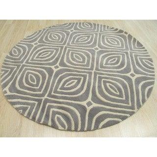 Hand-tufted Wool Gray Contemporary Geometric Marla Rug (6' Round)