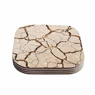 Kess InHouse KESS Original 'Drought' Brown Beige Coasters (Set of 4)
