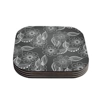 Kess InHouse PIC Louise Machado 'Floral Ink' Gray White Coasters (Set of 4)
