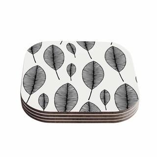Kess InHouse KESS Original 'Leaves' Black White Coasters (Set of 4)