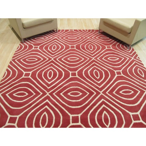 Hand-tufted Wool Red Contemporary Geometric Marla Rug - 8' x 10'