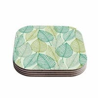 Kess InHouse KESS Original 'Make Like A Tree' Green Pattern Coasters (Set of 4)