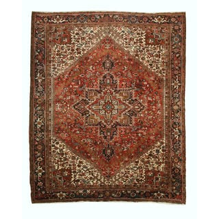 Hand-knotted Wool Rust Traditional Oriental Heriz Rug (10'3 x 12'8)