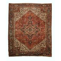 Hand-knotted Wool Rust Traditional Oriental Heriz Rug (10'3 x 12'8) - 10' x 13'