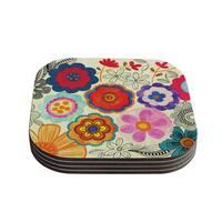 Kess InHouse Louise Machado 'Charming Floral' Floral Multicolor Coasters (Set of 4)