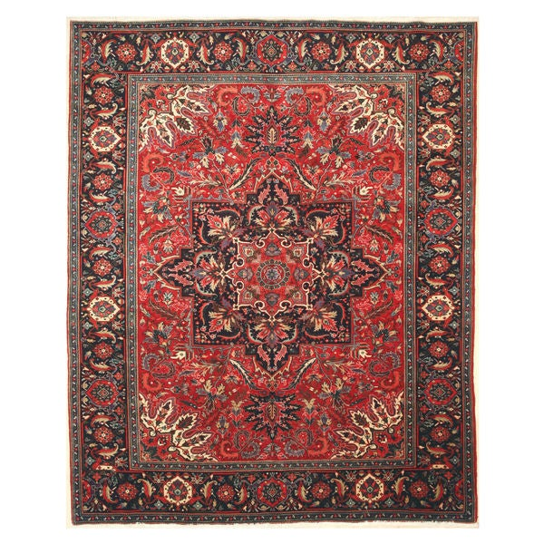 Hand Tufted Traditional Oriental Red Wool Rug With Non: Shop Hand-knotted Wool Red Traditional Oriental Heriz Rug