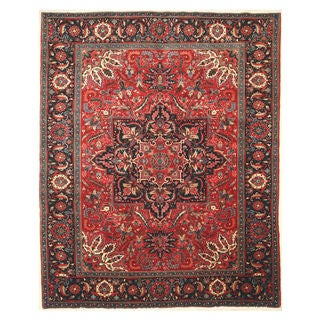 EORC Hand-knotted Wool Red Heriz Rug (10'1 x 12'8)