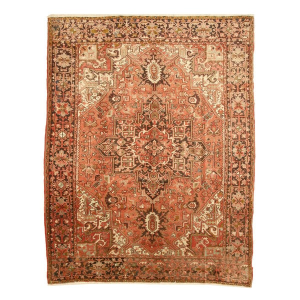 Hand-knotted Wool Rust Traditional Oriental Heriz Rug (7'10 x 10'10)
