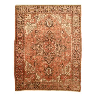 EORC Hand-knotted Wool Rust Heriz Rug (7'10 x 10'10)