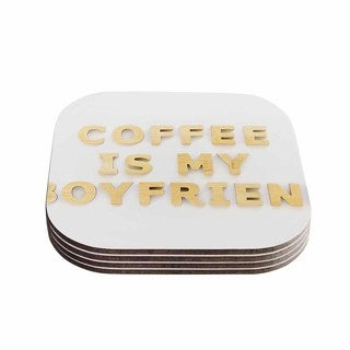Kess InHouse Kristi Jackson 'Coffee Is My Boyfriend' Typography Beige Coasters (Set of 4)