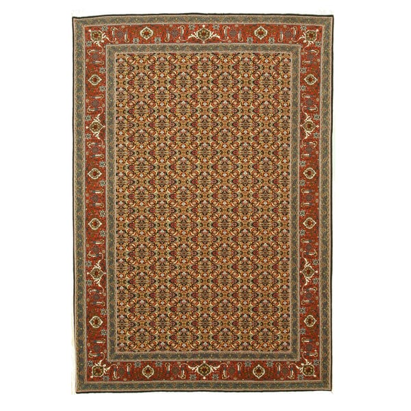 Hand-knotted Wool Blue Traditional Oriental Tabriz Rug (6'9 x 9'10)