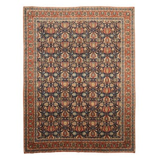 Hand-knotted Wool Blue Traditional Oriental Varamin Rug (9'9 x 12'10)
