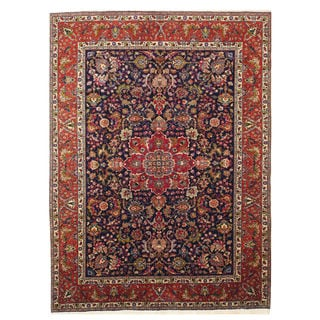 EORC Hand-knotted Wool Navy Tabriz Rug (8'3 x 11'3)