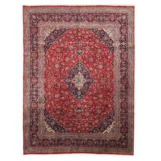 EORC Hand-knotted Wool Red Kashan Rug (9'7 x 12'10)