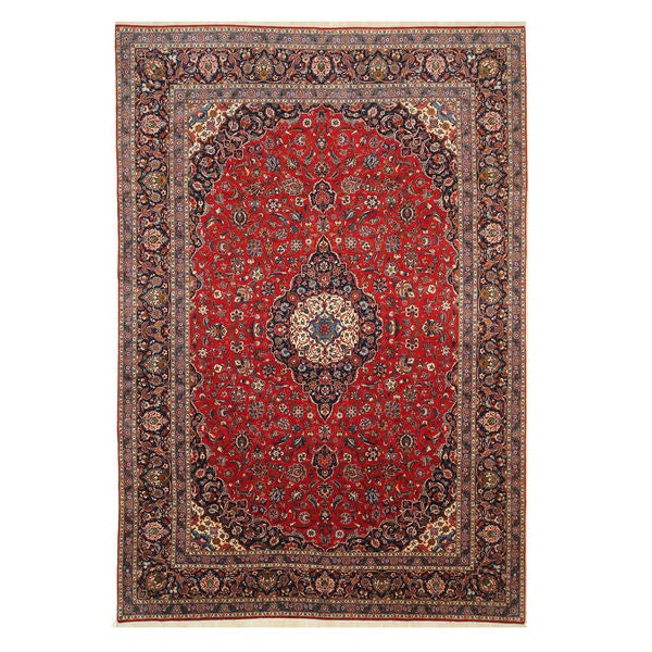 Hand Tufted Traditional Oriental Red Wool Rug With Non: Shop Hand-knotted Wool Red Traditional Oriental Kashan Rug