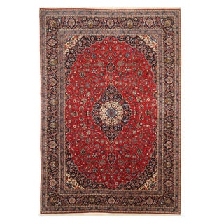 EORC Hand-knotted Wool Red Kashan Rug (9'11 x 14'6)