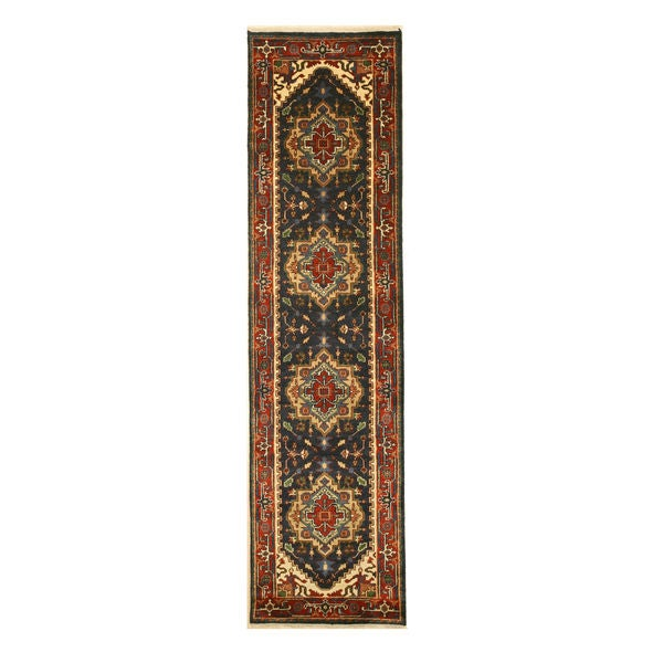 "Hand-knotted Wool Navy Traditional Oriental Serapi Rug (2'6 x 10' ) - 2'6"" x 10'"
