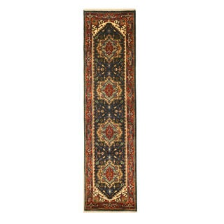 Hand-knotted Wool Navy Traditional Oriental Serapi Rug (2'6 x 10' )