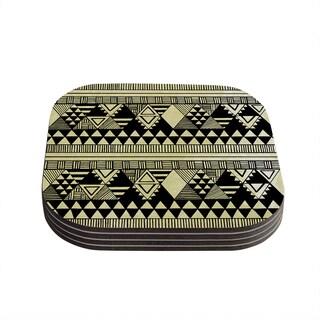 Kess InHouse Louise Machado 'Ethnic Chic' Tan Black Coasters (Set of 4)