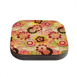 Kess InHouse Louise Machado 'Colorful Mix' Red Orange Coasters (Set of 4)
