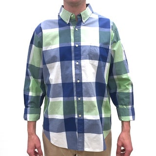 Reed Edward Men's Green Large Plaid Cotton Button-down Shirt