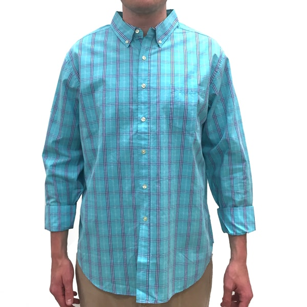 Reed Edward Men's Turquoise Cotton Plaid Button Down Shirt - Free ...