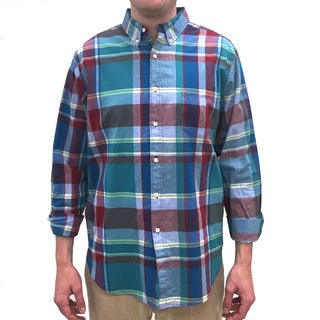 Reed Edward Men's Blue Plaid Cotton Button-down Shirt