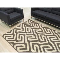 Handmade Wool Brown Contemporary Geometric Flatweave Revesible Casba Rug - 10' x 14'