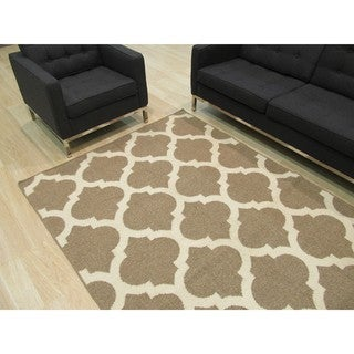 Handmade Wool Brown Contemporary Trellis Flatweave Revesible Moroccan Rug (9' x 12')