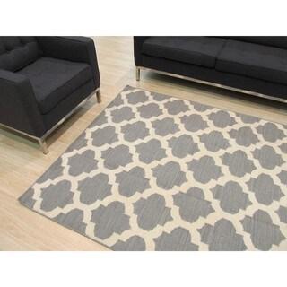 EORC Handmade Flatweave Wool Grey Reversible Moroccan Rug (9' x 12')