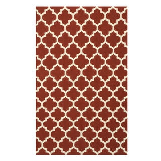 Handmade Wool Red Contemporary Trellis Flatweave Revesible Moroccan Rug (9' x 12')