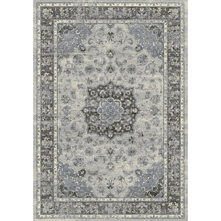 Machine-made Tabriz Traditional Medallion Silver/Grey Rug (5'3 x 7'7)