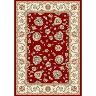 Machine Made Tabriz Traditional Floral Red Rug (7'10 x 10'10)