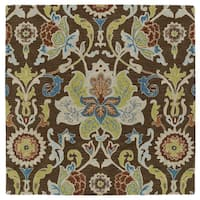 """Anabelle Chocolate Floral Hand-Tufted Wool Rug - 9'9"""" x 9'9"""""""