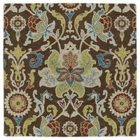 "Anabelle Chocolate Floral Hand-Tufted Wool Rug (5'9"" x 5'9"")"