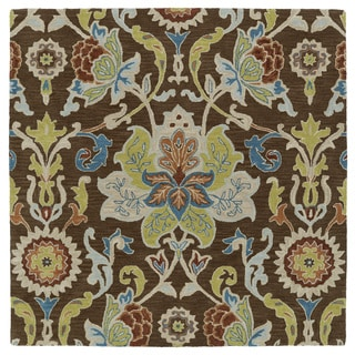 Anabelle Chocolate Floral Hand-Tufted Wool Rug (11'9 x 11'9 Square)