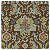 "Anabelle Chocolate Floral Hand-Tufted Wool Rug - 11'9"" Square"