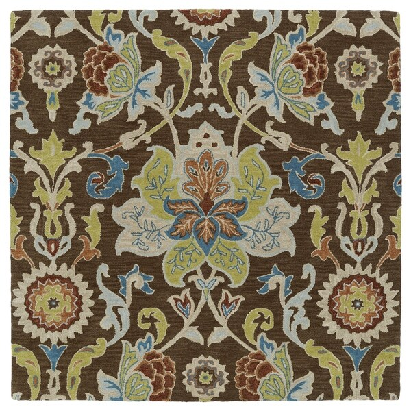 """Anabelle Chocolate Floral Hand-Tufted Wool Rug - 3'9"""" Square"""