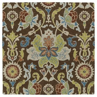 Anabelle Chocolate Floral Hand-Tufted Wool Rug (3'9 x 3'9)