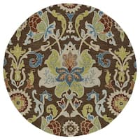 Anabelle Chocolate Floral Hand-Tufted Wool Rug (5'9 x 5'9 Round)