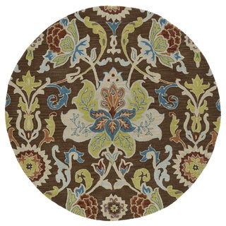 Anabelle Chocolate Floral Hand-Tufted Wool Rug (9'9 x 9'9 Round)
