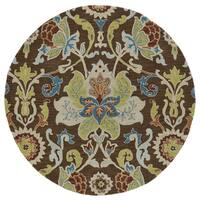 Anabelle Chocolate Floral Hand-Tufted Wool Rug - 9'9 x 9'9 Round