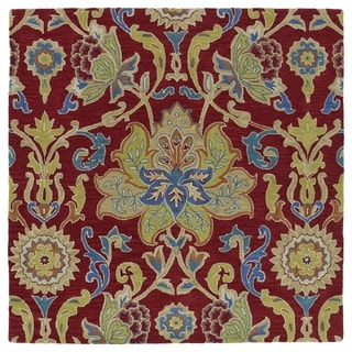 """Anabelle Red Floral Hand-Tufted Wool Rug - 7'9"""" Square"""