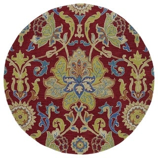 """Anabelle Red Floral Hand-Tufted Wool Rug (5'9 x 5'9 Round) - 5'9"""" Round"""