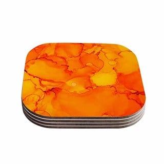 Kess InHouse Claire Day 'Yellow' Orange Coasters (Set of 4)