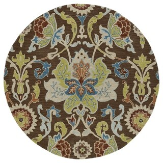 Anabelle Chocolate Floral Hand-Tufted Wool Rug (7'9 x 7'9 Round)
