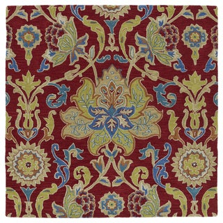 """Anabelle Red Floral Hand-Tufted Wool Rug - 9'9"""" Square"""