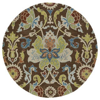 Anabelle Chocolate Floral Hand-Tufted Wool Rug (11'9 x 11'9 Round)|https://ak1.ostkcdn.com/images/products/11804647/P18713075.jpg?impolicy=medium