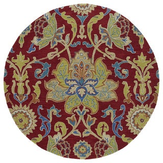 Anabelle Red Floral Hand-Tufted Wool Rug (9'9 x 9'9 Round)