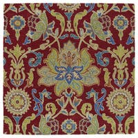 Anabelle Red Floral Hand-Tufted Wool Rug - 11'9 x 11'9